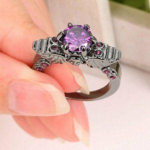 Skull Wing Goth Punk Purple Ring 8